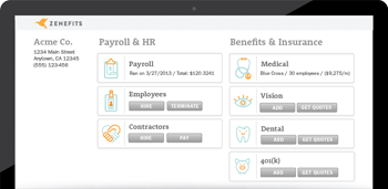 Zenefits Insurance and Payroll Dashboard